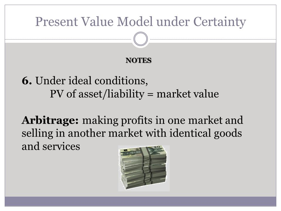 Present Value Model under Certainty 6. Under ideal conditions, PV of asset/liability = market value Arbitrage: making profits in one market and sellin