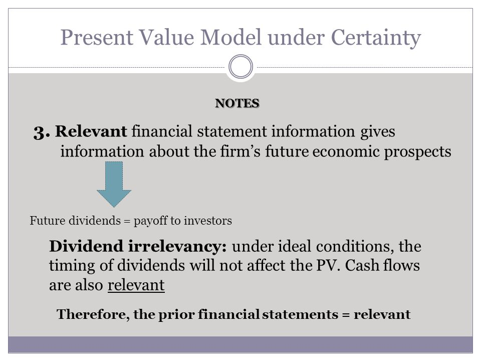 Present Value Model under Certainty NOTES 4.