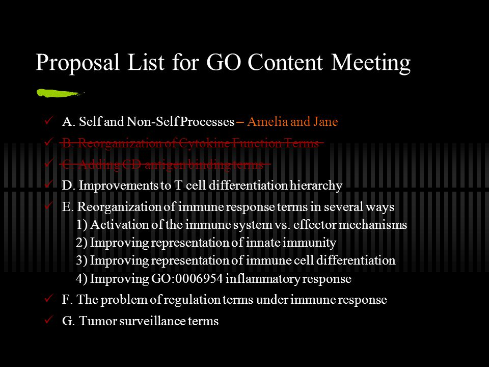 Proposal List for GO Content Meeting A. Self and Non-Self Processes – Amelia and Jane B.