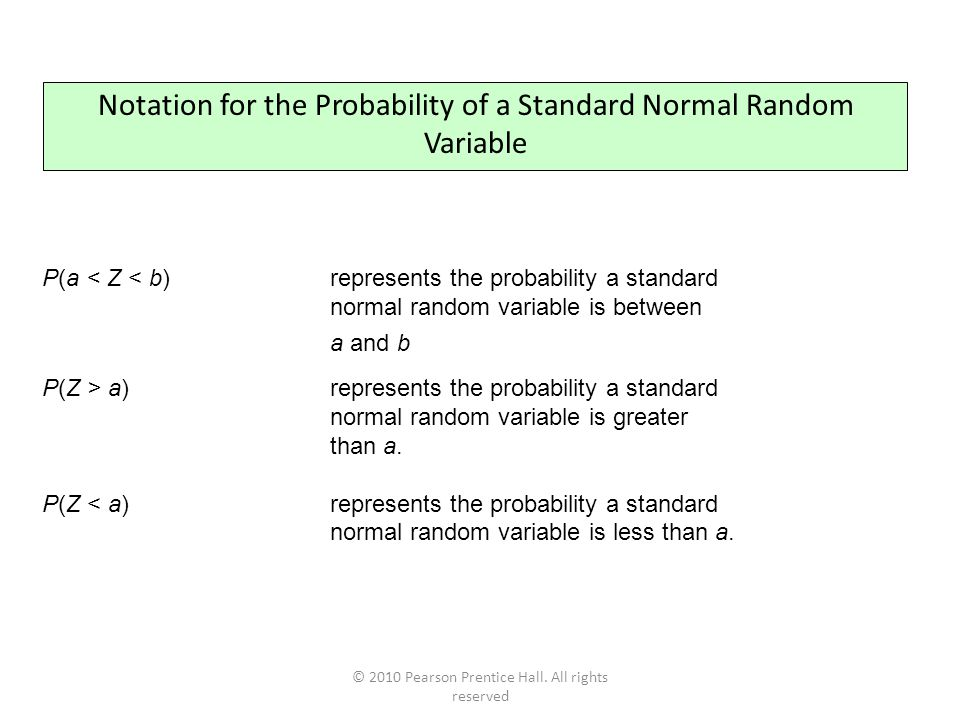© 2010 Pearson Prentice Hall. All rights reserved Notation for the Probability of a Standard Normal Random Variable P(a < Z < b) represents the probab