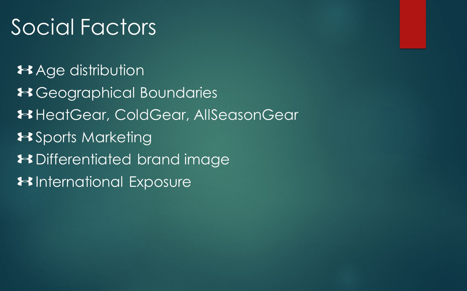 Social Factors Age distribution Geographical Boundaries HeatGear, ColdGear, AllSeasonGear Sports Marketing Differentiated brand image International Ex