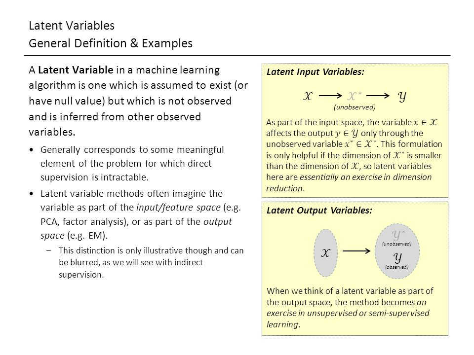 Latent Variables General Definition & Examples A Latent Variable in a machine learning algorithm is one which is assumed to exist (or have null value) but which is not observed and is inferred from other observed variables.