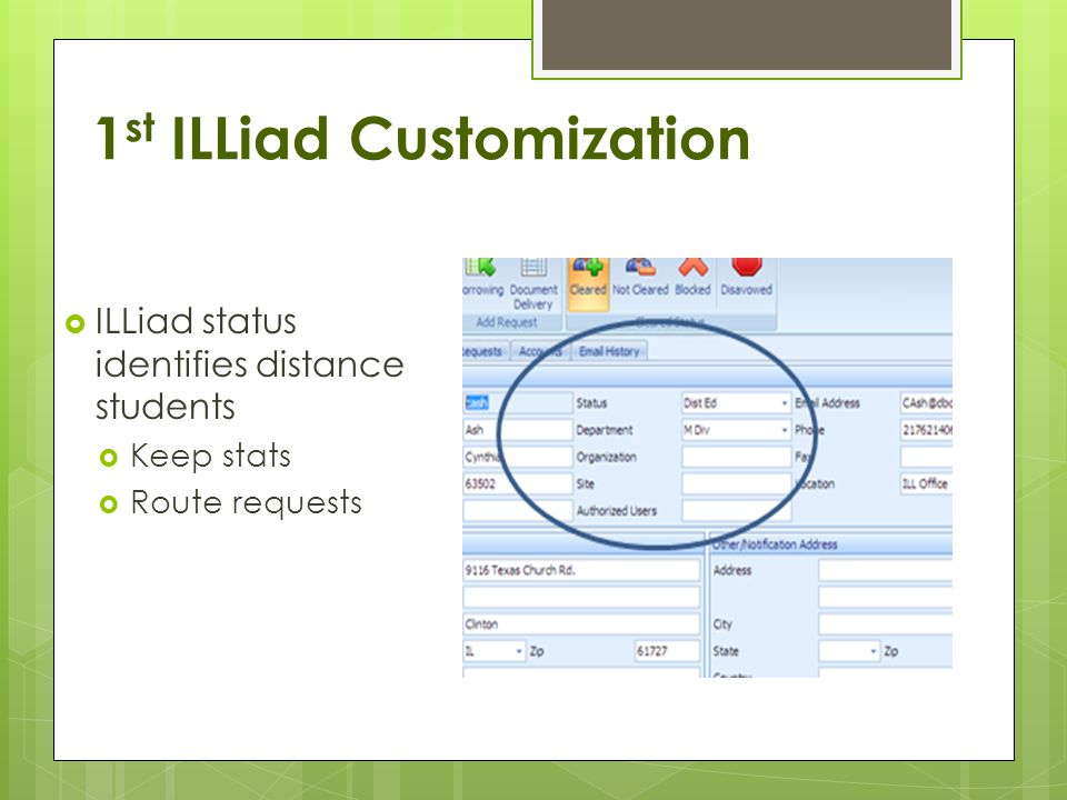 1 st ILLiad Customization ILLiad status identifies distance students Keep stats Route requests