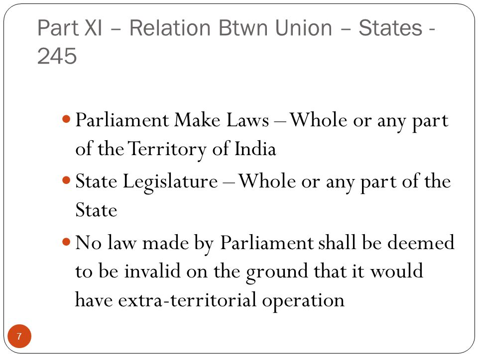 Article 246 Parliament has exclusive power to make laws of matters covered in List I (union List) of VII Schedule State Legislature has exclusive power to make laws of matters covered in List II (State List) Concurrent List – Both have powers 8