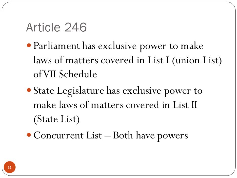 Article 246 Parliament has exclusive power to make laws of matters covered in List I (union List) of VII Schedule State Legislature has exclusive powe