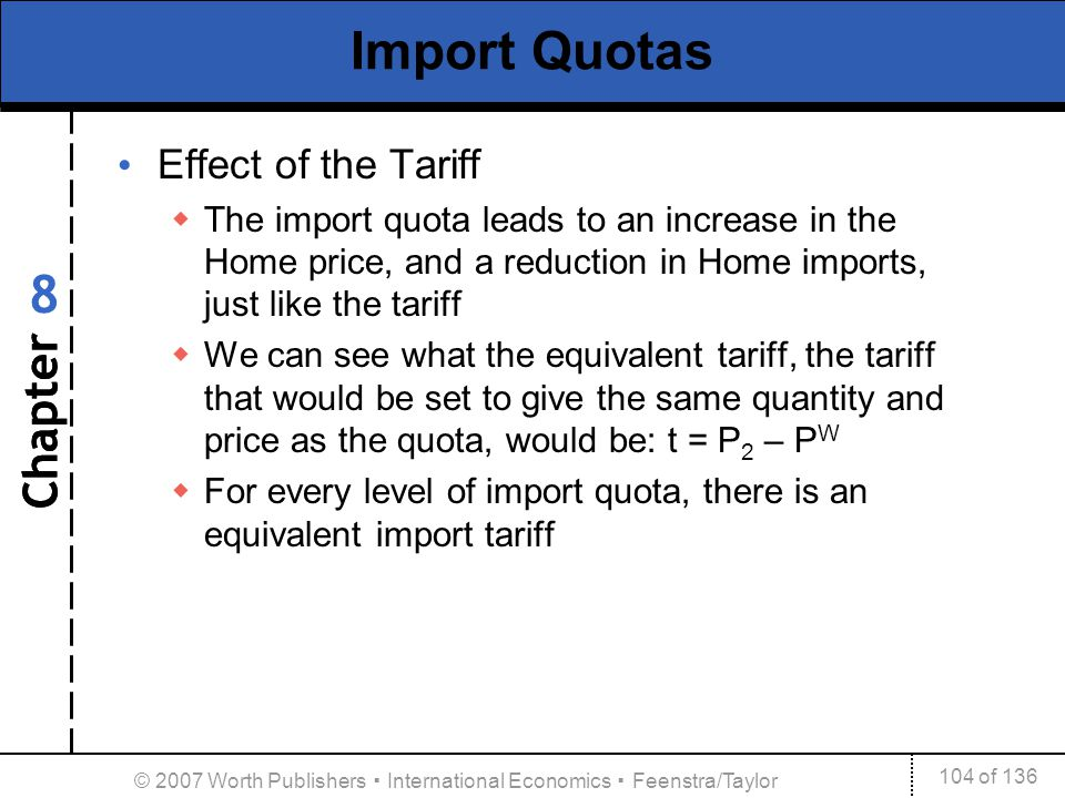 Chapter 104 of 136 8 © 2007 Worth Publishers International Economics Feenstra/Taylor Import Quotas Effect of the Tariff The import quota leads to an i