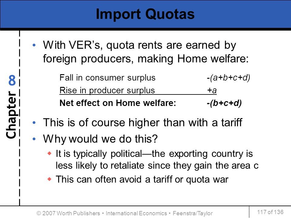 Chapter 117 of 136 8 © 2007 Worth Publishers International Economics Feenstra/Taylor Import Quotas With VERs, quota rents are earned by foreign produc