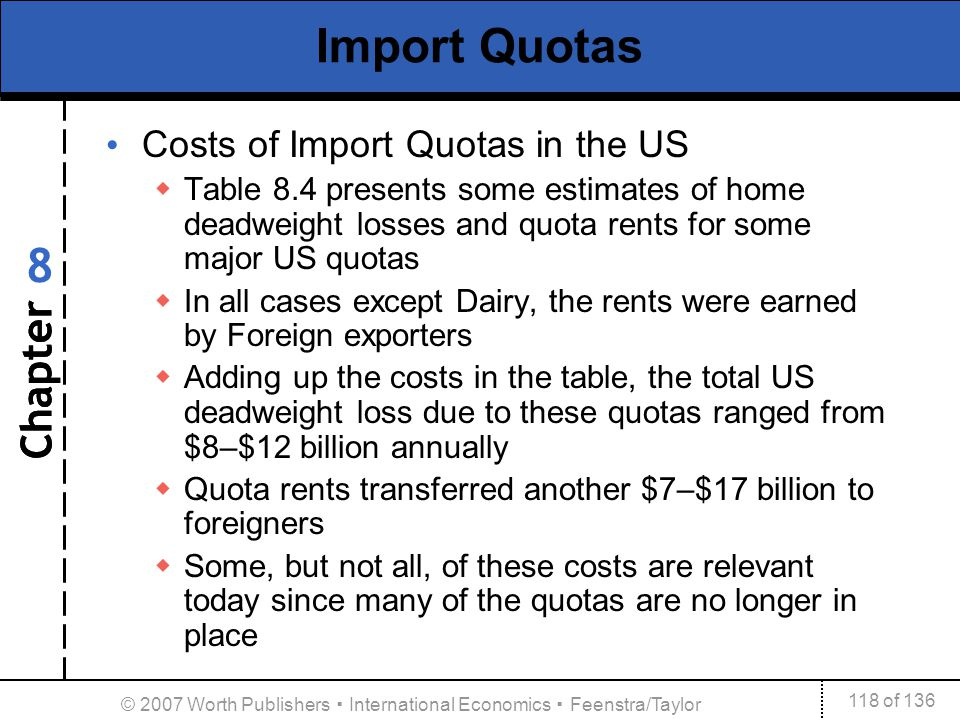Chapter 118 of 136 8 © 2007 Worth Publishers International Economics Feenstra/Taylor Import Quotas Costs of Import Quotas in the US Table 8.4 presents