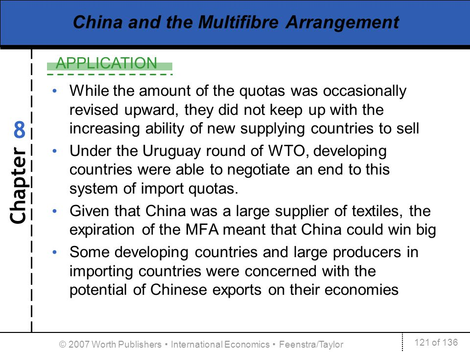 Chapter APPLICATION 121 of 136 8 © 2007 Worth Publishers International Economics Feenstra/Taylor China and the Multifibre Arrangement While the amount