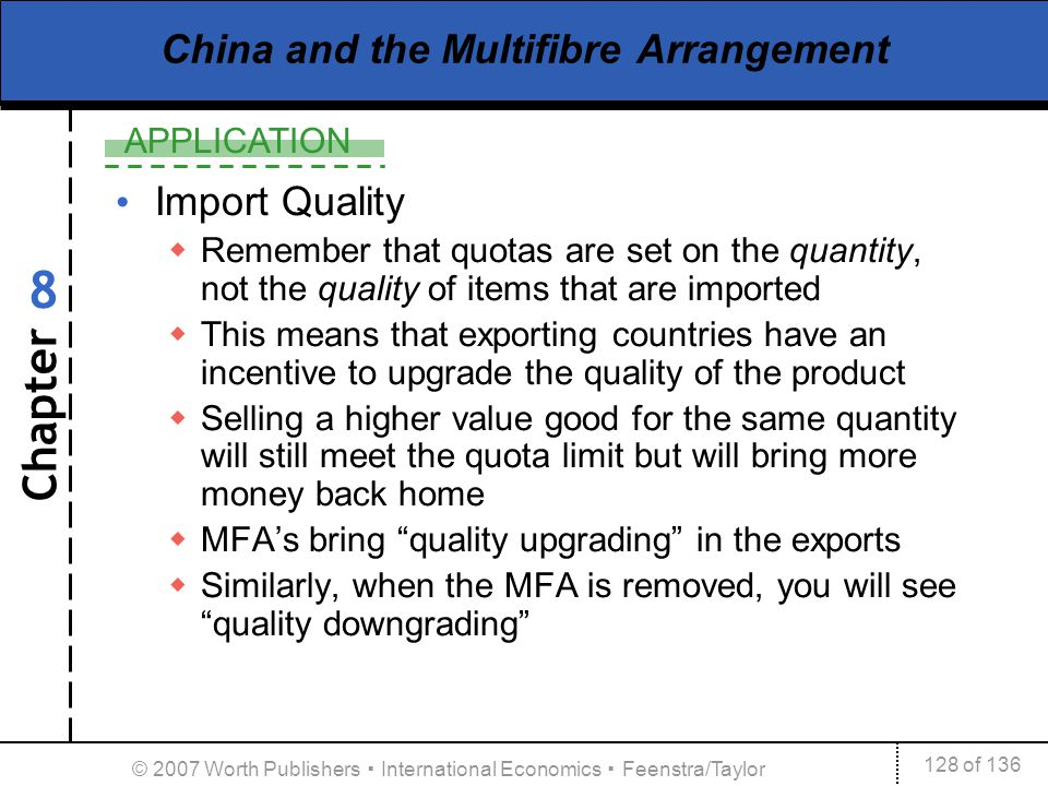 Chapter APPLICATION 128 of 136 8 © 2007 Worth Publishers International Economics Feenstra/Taylor China and the Multifibre Arrangement Import Quality R