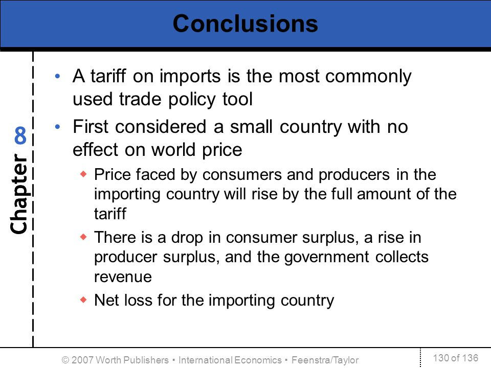 Chapter 130 of 136 8 © 2007 Worth Publishers International Economics Feenstra/Taylor Conclusions A tariff on imports is the most commonly used trade p