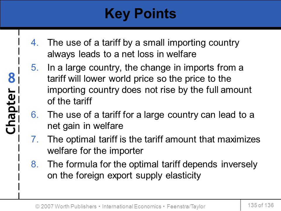 Chapter 135 of 136 8 © 2007 Worth Publishers International Economics Feenstra/Taylor Key Points 4.The use of a tariff by a small importing country alw