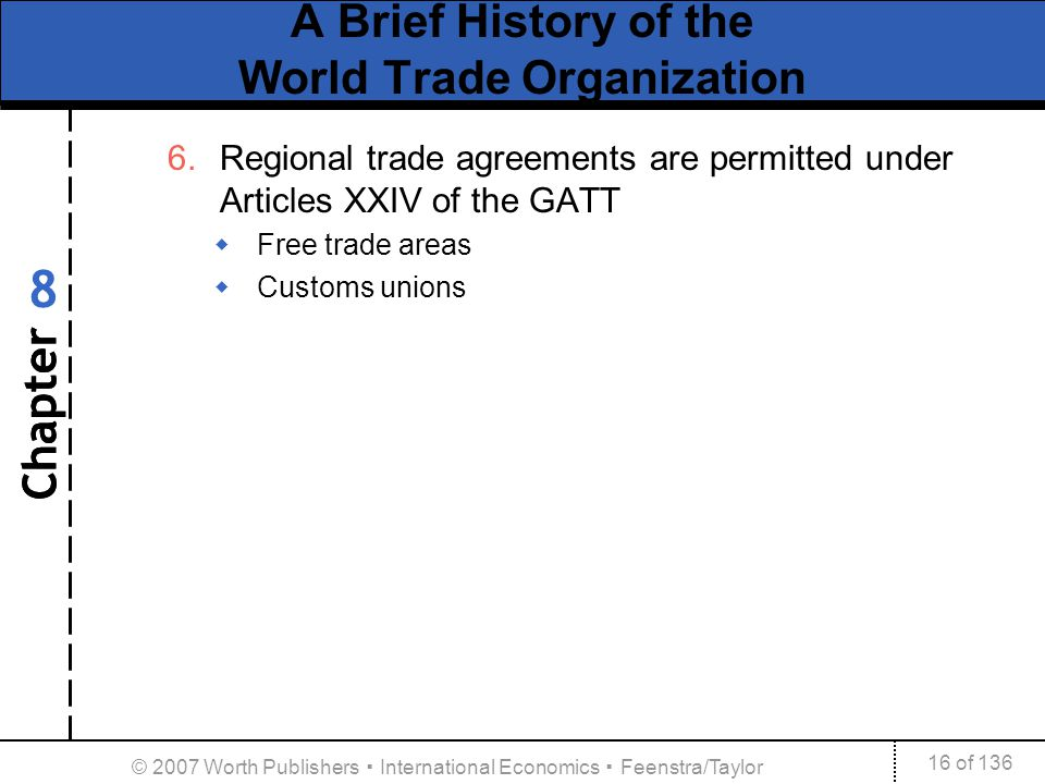 Chapter 16 of 136 8 © 2007 Worth Publishers International Economics Feenstra/Taylor A Brief History of the World Trade Organization 6.Regional trade a