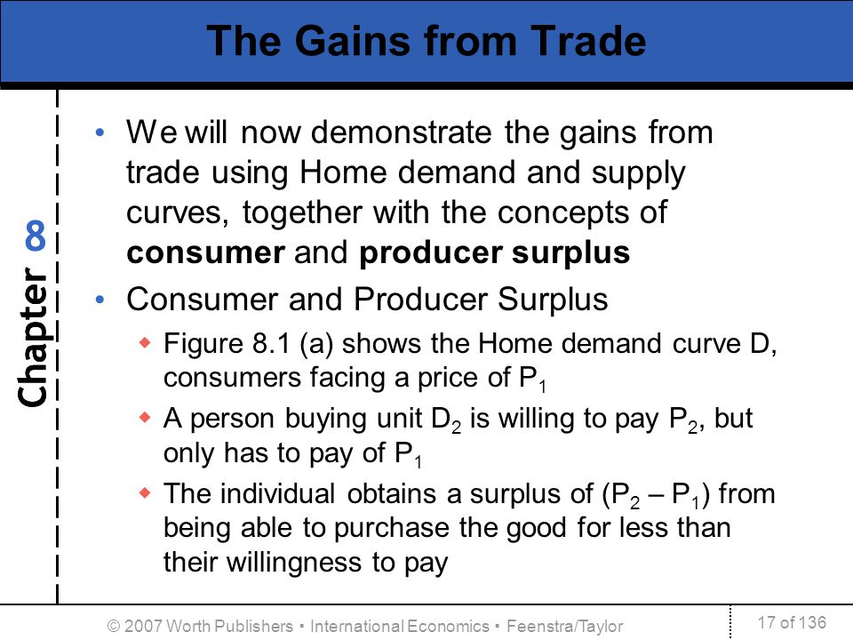 Chapter 17 of 136 8 © 2007 Worth Publishers International Economics Feenstra/Taylor The Gains from Trade We will now demonstrate the gains from trade