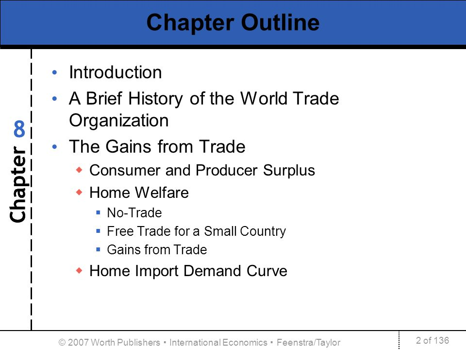 Chapter 2 of 136 8 © 2007 Worth Publishers International Economics Feenstra/Taylor Chapter Outline Introduction A Brief History of the World Trade Org