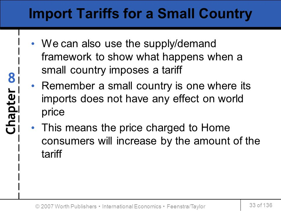 Chapter 33 of 136 8 © 2007 Worth Publishers International Economics Feenstra/Taylor Import Tariffs for a Small Country We can also use the supply/dema