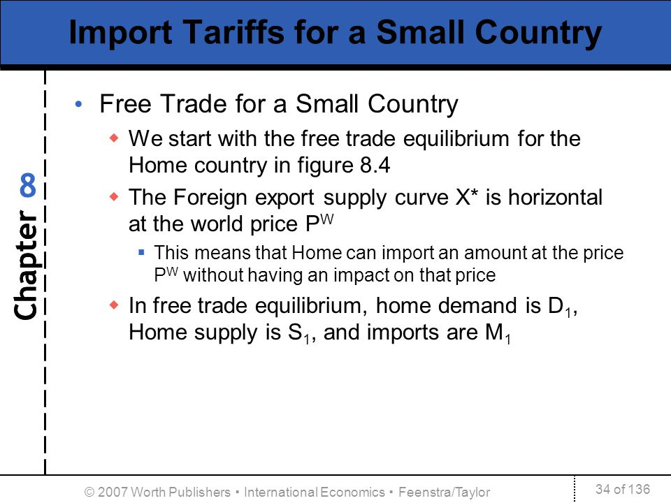 Chapter 34 of 136 8 © 2007 Worth Publishers International Economics Feenstra/Taylor Import Tariffs for a Small Country Free Trade for a Small Country
