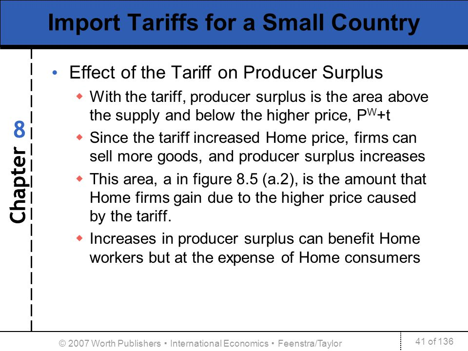 Chapter 41 of 136 8 © 2007 Worth Publishers International Economics Feenstra/Taylor Import Tariffs for a Small Country Effect of the Tariff on Produce