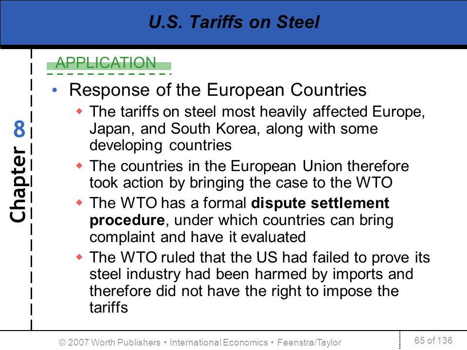 Chapter APPLICATION 65 of 136 8 © 2007 Worth Publishers International Economics Feenstra/Taylor U.S. Tariffs on Steel Response of the European Countri