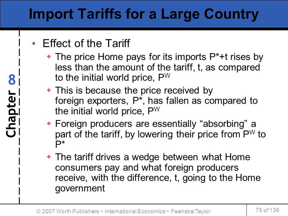Chapter 75 of 136 8 © 2007 Worth Publishers International Economics Feenstra/Taylor Import Tariffs for a Large Country Effect of the Tariff The price