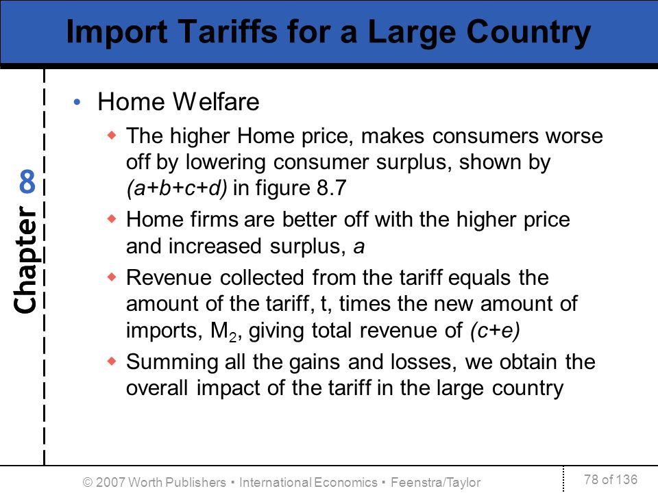 Chapter 78 of 136 8 © 2007 Worth Publishers International Economics Feenstra/Taylor Import Tariffs for a Large Country Home Welfare The higher Home pr