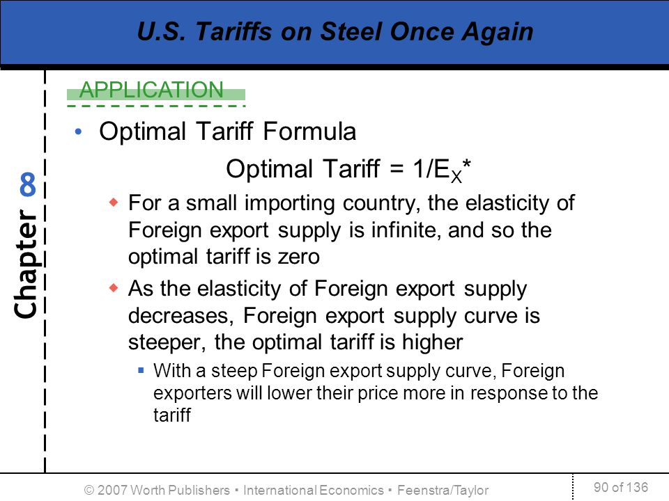 Chapter APPLICATION 90 of 136 8 © 2007 Worth Publishers International Economics Feenstra/Taylor U.S. Tariffs on Steel Once Again Optimal Tariff Formul