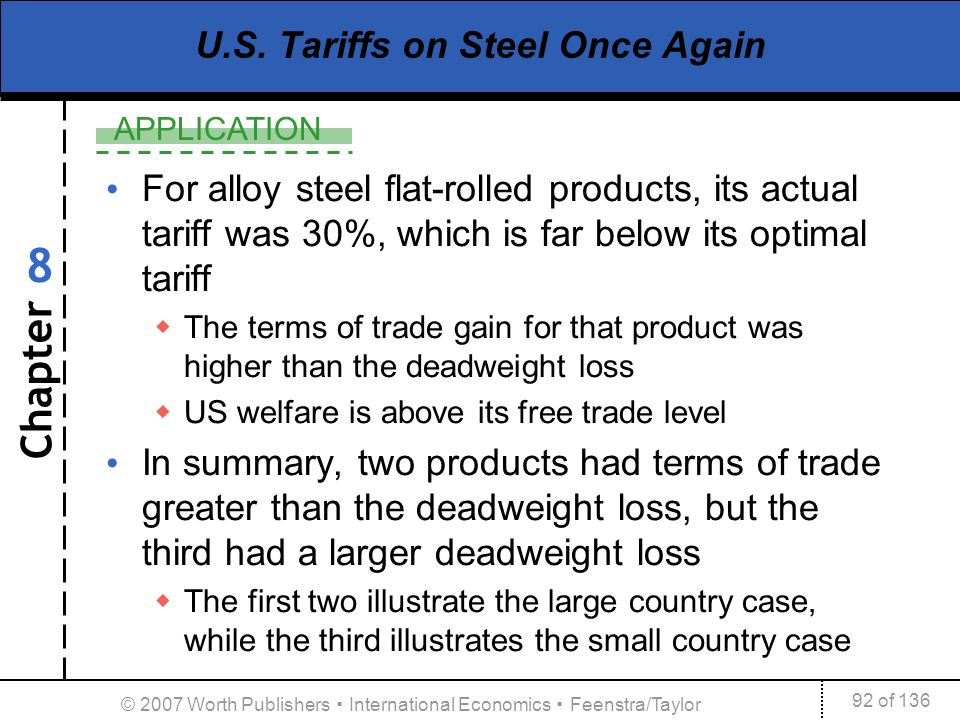 Chapter APPLICATION 92 of 136 8 © 2007 Worth Publishers International Economics Feenstra/Taylor U.S. Tariffs on Steel Once Again For alloy steel flat-