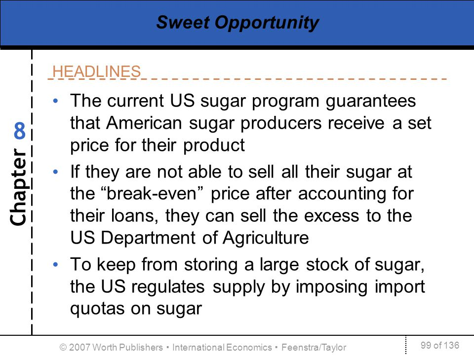 Chapter HEADLINES 99 of 136 8 © 2007 Worth Publishers International Economics Feenstra/Taylor Sweet Opportunity The current US sugar program guarantee