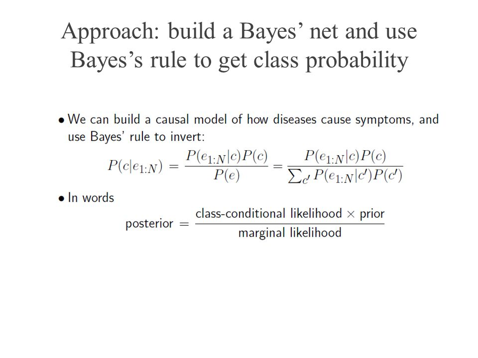Approach: build a Bayes net and use Bayess rule to get class probability