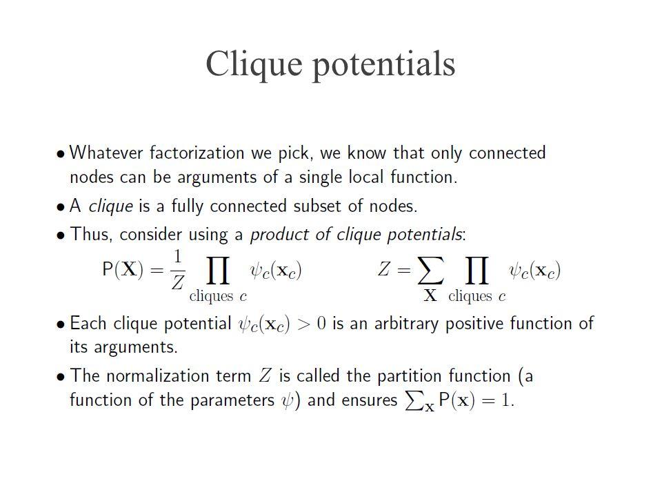 Clique potentials