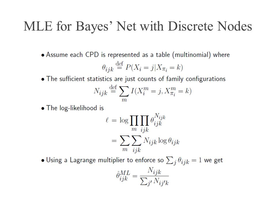MLE for Bayes Net with Discrete Nodes