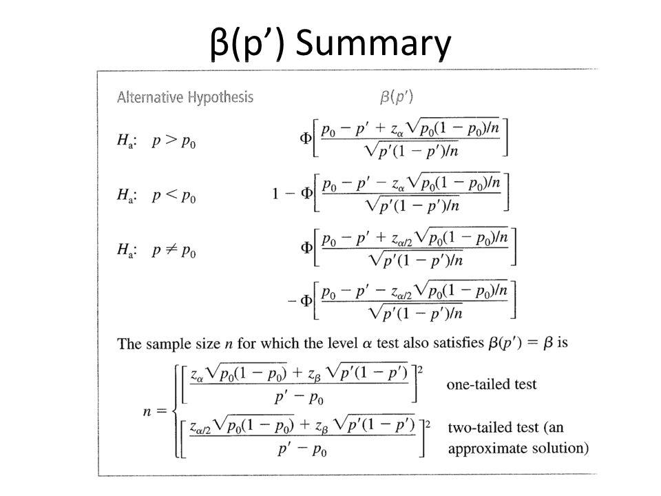 β(p) Summary
