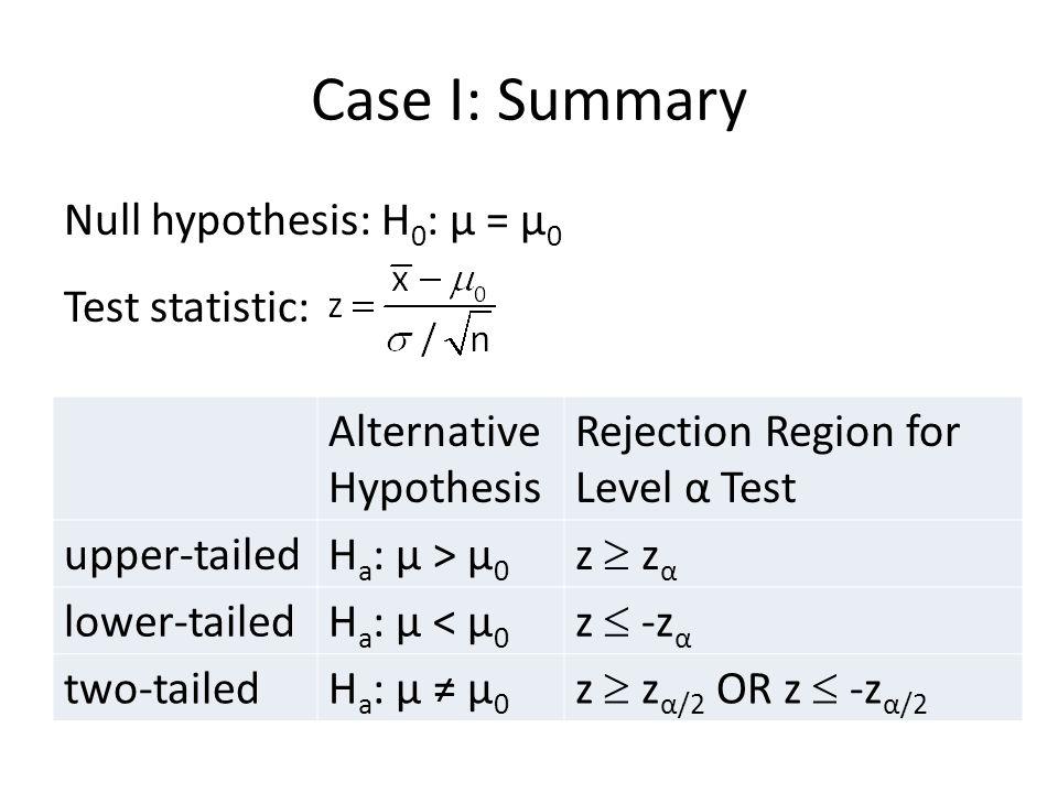 Case I Summary (cont)