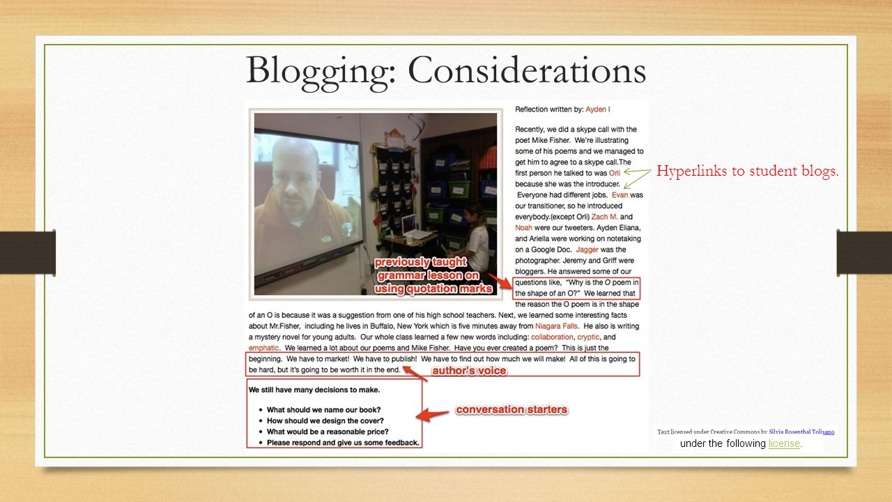 Blogging: Considerations Hyperlinks to student blogs. under the following license.license