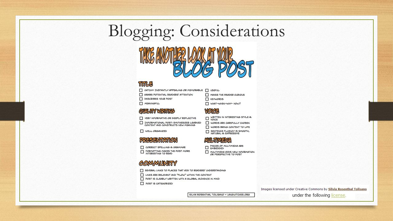 Blogging: Considerations under the following license.license