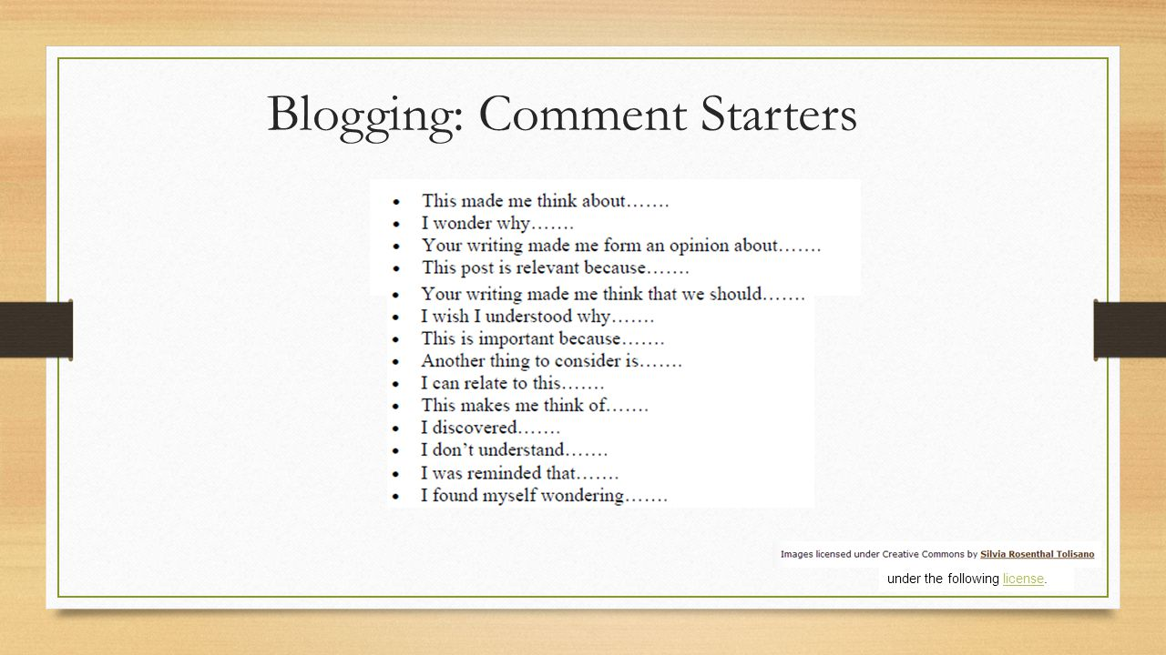 Blogging: Comment Starters under the following license.license