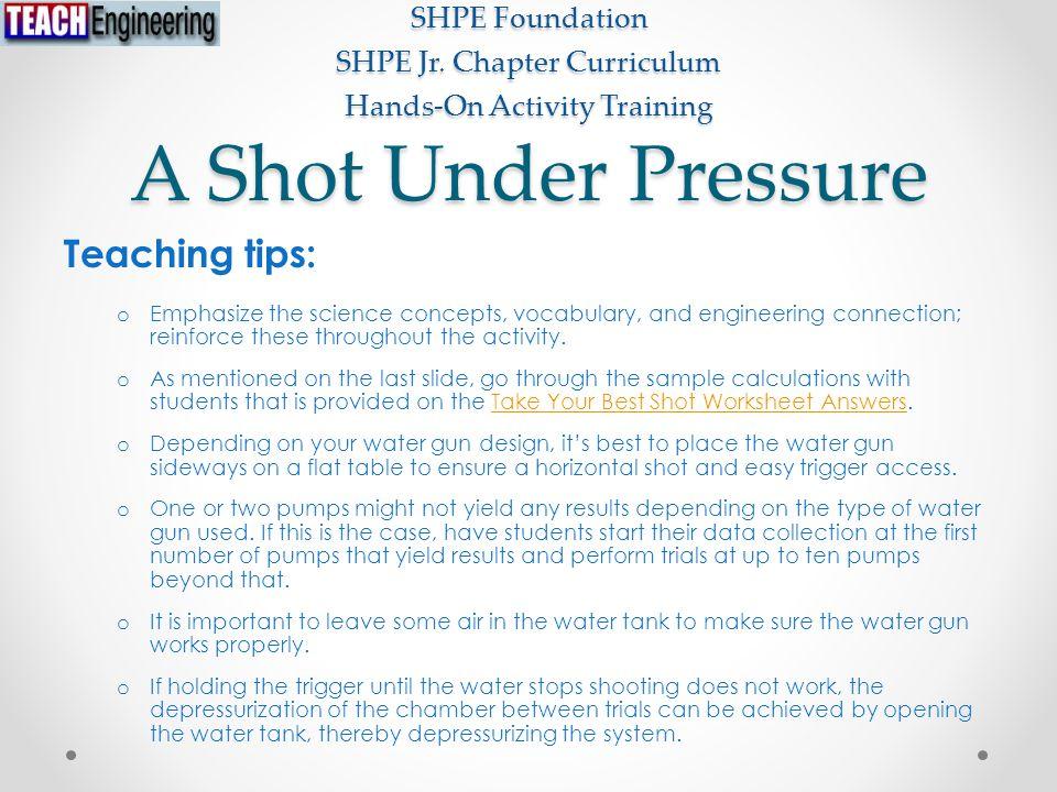 A Shot Under Pressure SHPE Foundation SHPE Jr.