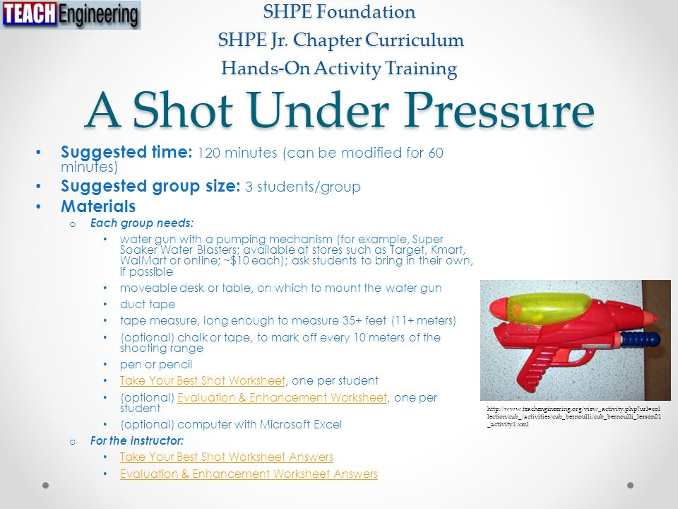 A Shot Under Pressure Suggested time: 120 minutes (can be modified for 60 minutes) Suggested group size: 3 students/group Materials o Each group needs: water gun with a pumping mechanism (for example, Super Soaker Water Blasters; available at stores such as Target, Kmart, WalMart or online; ~$10 each); ask students to bring in their own, if possible moveable desk or table, on which to mount the water gun duct tape tape measure, long enough to measure 35+ feet (11+ meters) (optional) chalk or tape, to mark off every 10 meters of the shooting range pen or pencil Take Your Best Shot Worksheet, one per student Take Your Best Shot Worksheet (optional) Evaluation & Enhancement Worksheet, one per studentEvaluation & Enhancement Worksheet (optional) computer with Microsoft Excel o For the instructor: Take Your Best Shot Worksheet Answers Evaluation & Enhancement Worksheet Answers SHPE Foundation SHPE Jr.