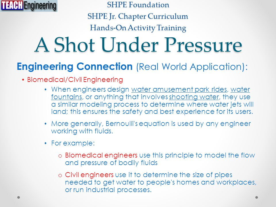 A Shot Under Pressure SHPE Foundation SHPE Jr. Chapter Curriculum Hands-On Activity Training Engineering Connection (Real World Application): Biomedic