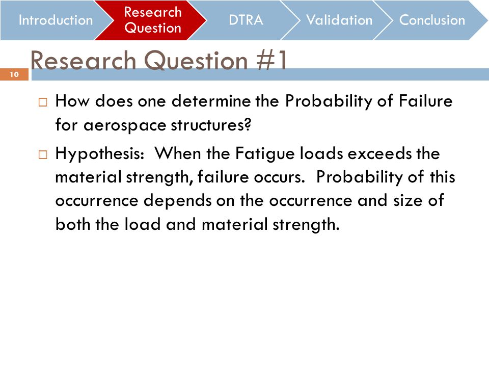 Research Question #1 How does one determine the Probability of Failure for aerospace structures.