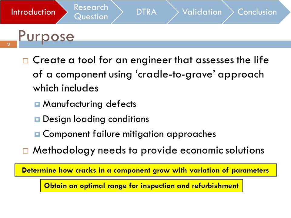 Create a tool for an engineer that assesses the life of a component using cradle-to-grave approach which includes Manufacturing defects Design loading conditions Component failure mitigation approaches Methodology needs to provide economic solutions Introduction Research Question DTRAValidationConclusion Purpose 3 Determine how cracks in a component grow with variation of parameters Obtain an optimal range for inspection and refurbishment