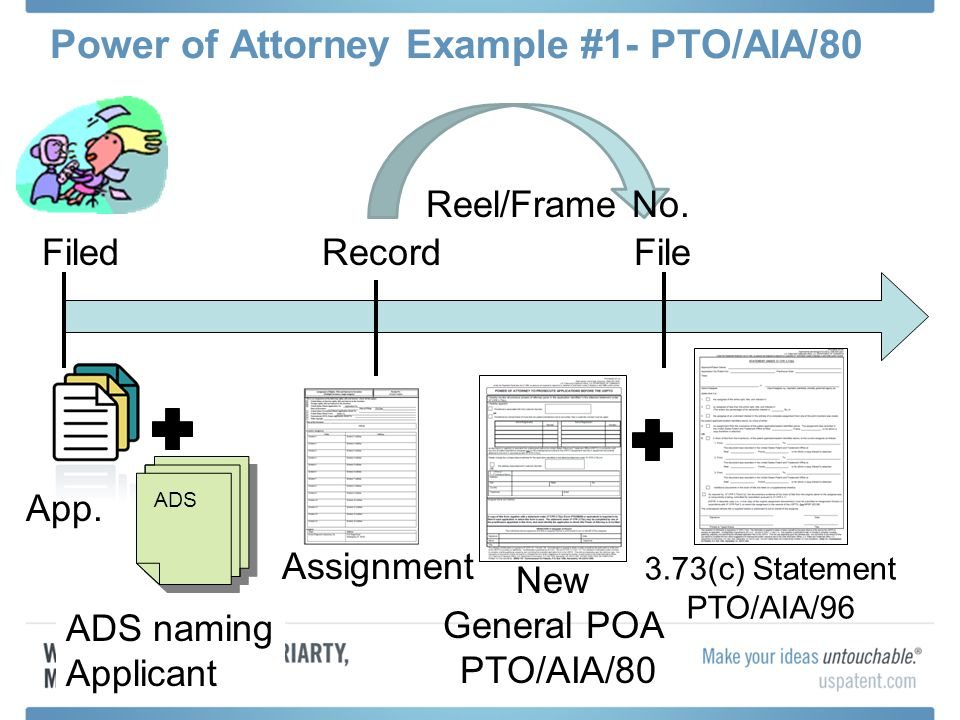 Power of Attorney Example #1- PTO/AIA/80 App. Filed Assignment RecordFile 3.73(c) Statement PTO/AIA/96 Reel/Frame No. ADS ADS naming Applicant New Gen