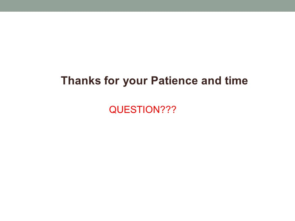 Thanks for your Patience and time QUESTION???