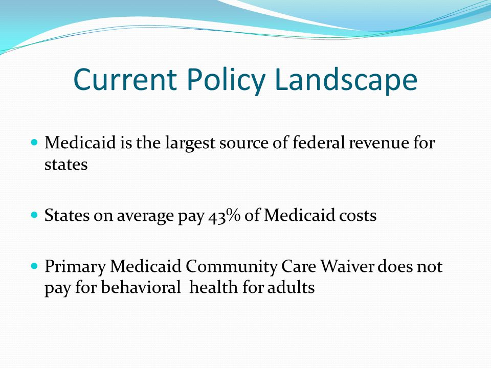 Current Policy Landscape Medicaid is the largest source of federal revenue for states States on average pay 43% of Medicaid costs Primary Medicaid Community Care Waiver does not pay for behavioral health for adults