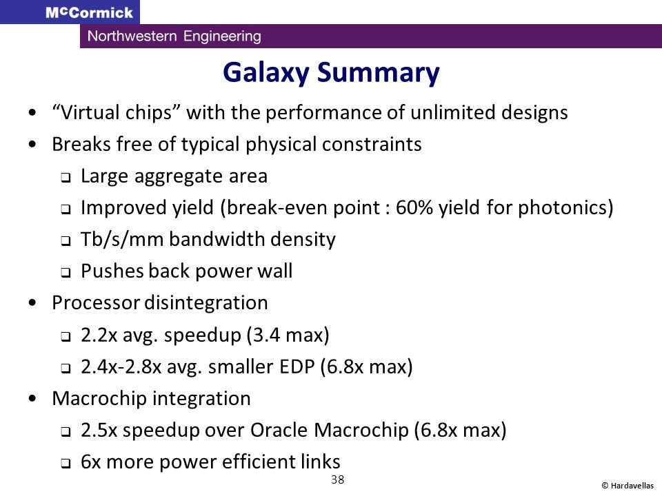Galaxy Summary Virtual chips with the performance of unlimited designs Breaks free of typical physical constraints Large aggregate area Improved yield