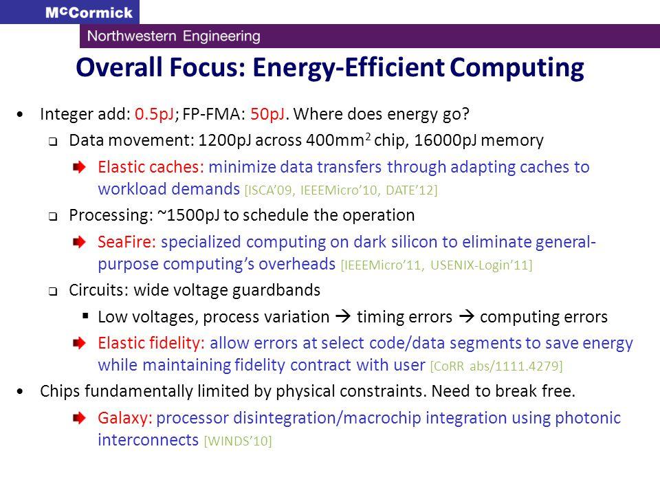 Integer add: 0.5pJ; FP-FMA: 50pJ. Where does energy go? Data movement: 1200pJ across 400mm 2 chip, 16000pJ memory Elastic caches: minimize data transf