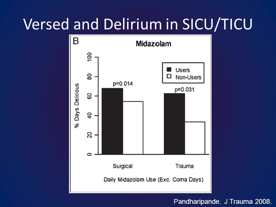 Versed and Delirium in SICU/TICU Pandharipande. J Trauma 2008.