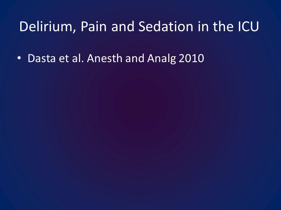 Delirium, Pain and Sedation in the ICU Dasta et al. Anesth and Analg 2010