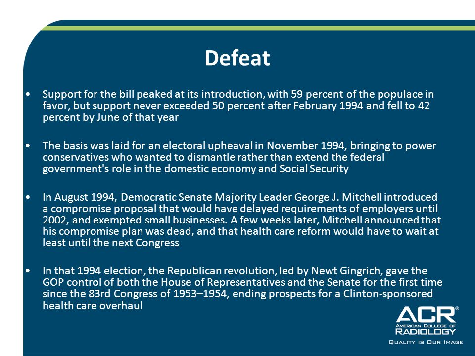 Defeat Support for the bill peaked at its introduction, with 59 percent of the populace in favor, but support never exceeded 50 percent after February 1994 and fell to 42 percent by June of that year The basis was laid for an electoral upheaval in November 1994, bringing to power conservatives who wanted to dismantle rather than extend the federal government s role in the domestic economy and Social Security In August 1994, Democratic Senate Majority Leader George J.