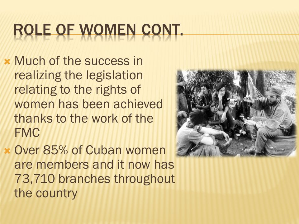 Much of the success in realizing the legislation relating to the rights of women has been achieved thanks to the work of the FMC Over 85% of Cuban women are members and it now has 73,710 branches throughout the country